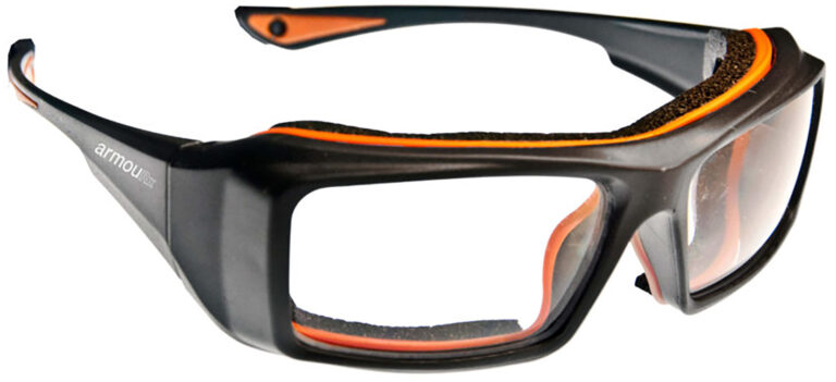 ArmouRx 6006 Plastic Safety Frame in Black Frame Side Right Angle