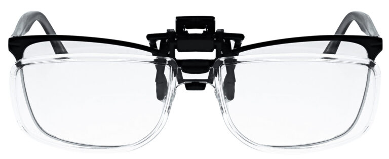 Clip on Magnifying Reading Glasses in Clear Lens, Angled to the Front