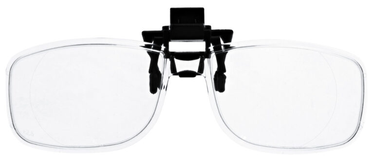 Clip on Magnifying Reading Glasses in Clear Lens, No clip, angled to the Front