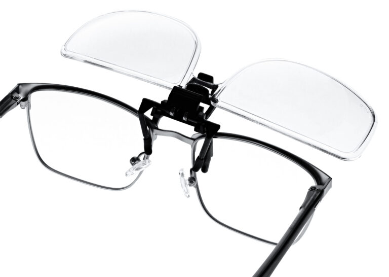 Clip on Magnifying Reading Glasses in Clear Lens, Angled to the Side Right