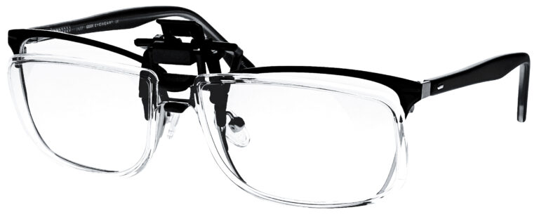 Clip on Magnifying Reading Glasses in Clear Lens, Angled to the Side Left