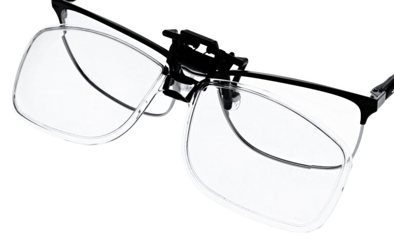 Clip on Magnifying Reading Glasses in Clear Lens, Angled to the Top Side Left