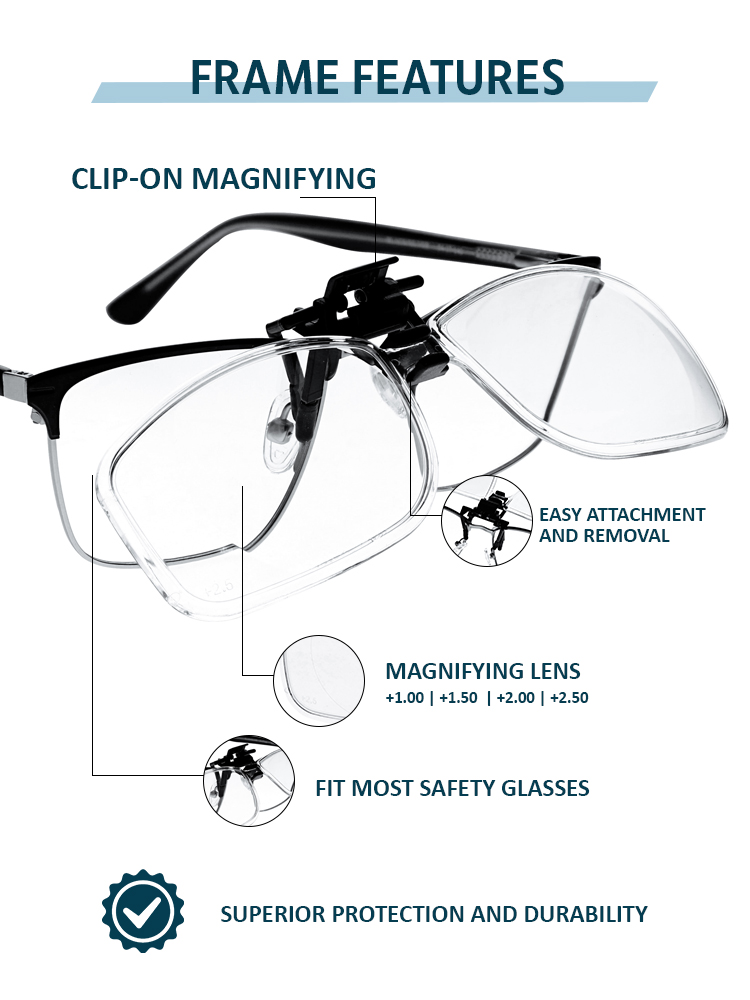 Clip on Magnifying Reading Glasses in Clear Lens Features