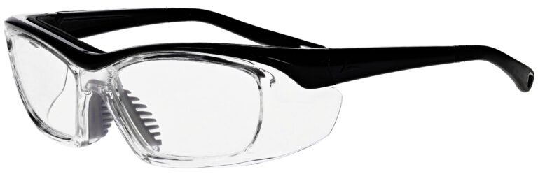 OnGuard 220S Prescription Safety Glasses in Black Frame, Angled to the Side Left