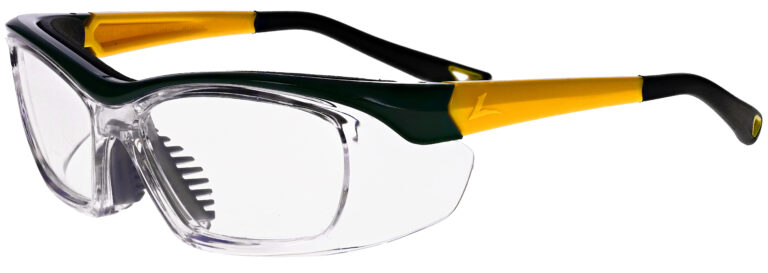 Onguard 220S Prescription Safety Glasses in Green Yellow Frame, Angled to the Side Left