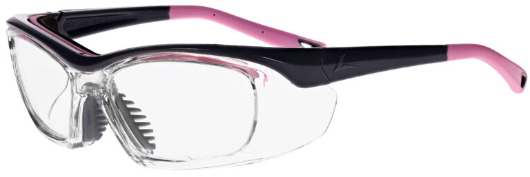 OnGuard 220S Prescription Safety Glasses in Grey Pink Frame, Angled to the Side Left