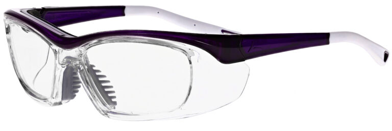 OnGuard 220S Prescription Safety Glasses in Purple White Frame, Angled to the Side Left