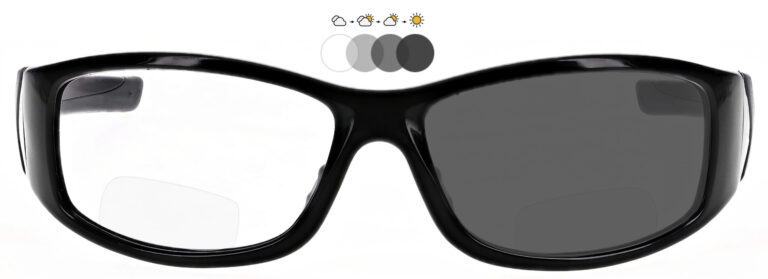 Photochromic Bifocal Safety Glasses in Black Frame with Transition Lenses, Angled Front