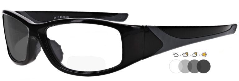 Photochromic Bifocal Safety Glasses, PSG-TGB-808BK