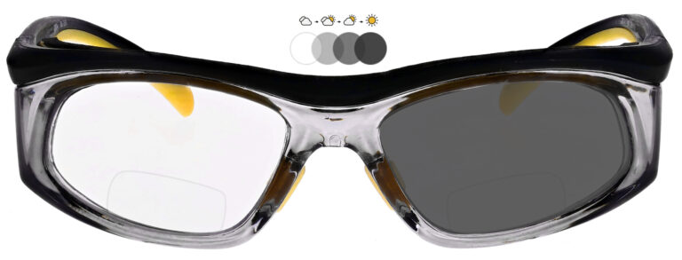 Photochromic Bifocal Safety Glasses in Black and Yellow Frame with Photochromic Lens, Angled to the Front