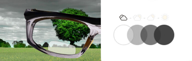 Photochromic Bifocal Safety Glasses in Black and Yellow Frame with Photochromic Lens, Progress 1