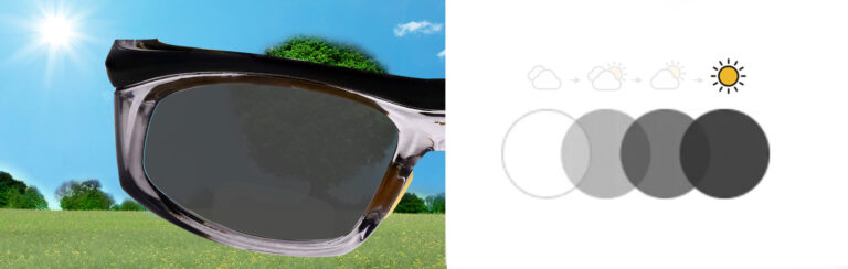 Photochromic Bifocal Safety Glasses in Black and Yellow Frame with Photochromic Lens, Progress 4