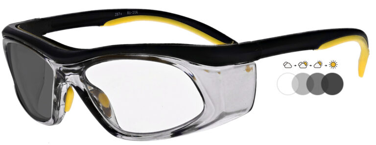 Photochromic Safety Glasses in Black Yellow Frame with Transition Lenses, Angled to the Side Left