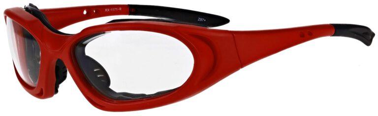 Prescription Wraparound Safety Glasses Model RX-1171-R in Red