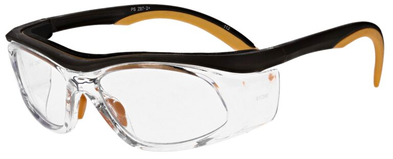 Prescription Safety Glasses RX-206 in Orange/Brown, Angled to the Side Left