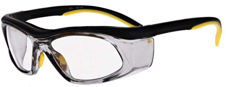 Prescription Safety Glasses RX-206 in Yellow Black Smoke, Angled to the Side left