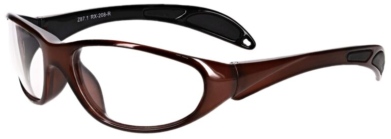 Plastic prescription wraparound safety glasses RX-208 in red