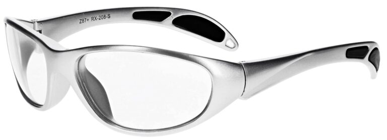 Plastic prescription wraparound safety glasses RX-208 in silver