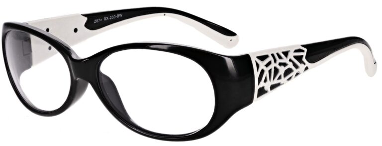 Model RX-230 Safety Glasses in Black with White Accents RX-230-BW