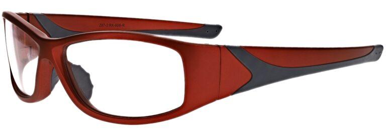 Prescription Wraparound Safety Glasses in Model RX-808-R in Red