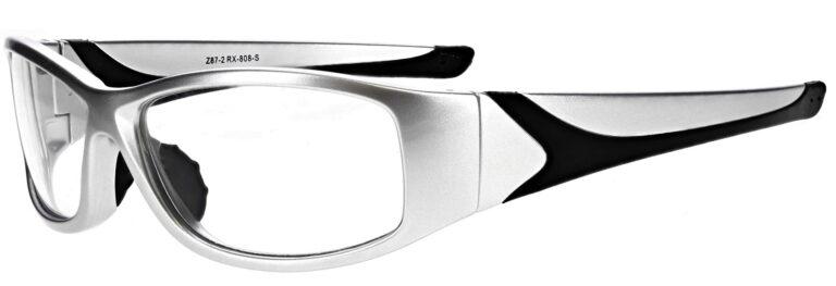 Prescription Wraparound Safety Glasses in Model RX-808-S in Silver