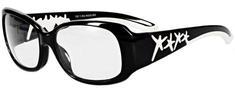 Model RX-W200 Prescription Safety Glasses in Black/White RX-W200-BW