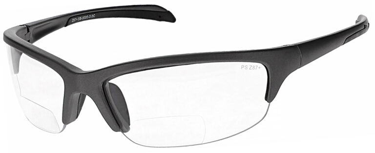 SB-5000 Bifocal Safety Glasses in Silver Frame with Clear Lenses, Angled to the Side Left