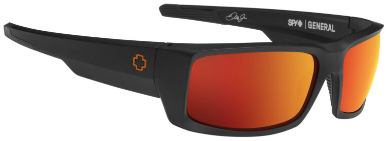 Spy General Dale Jr Sunglasses in Matte Black with Happy Gray Green with Orange Spectra Mirror Lenses