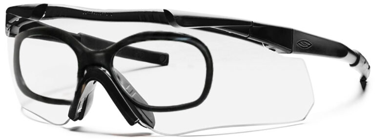 Smith Optics Aegis Echo II Eyeshield in Black Frame with Clear and Gray Lens Side Left Angle with RX Insert