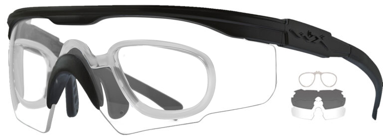 Wiley X PT-1 in Matte Black with Smoke Gray and Clear Lenses with RX Insert, WX-PT-1SCRX