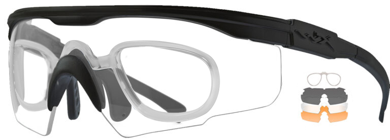 Wiley X PT-1 in Matte Black with Smoke Gray, Clear and Light Rust Lenses with RX Insert, WX-PT-1SCLRX