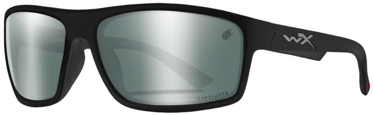 Wiley X Peak WX ACPEA40 in Matte Black Frame with Kevin Harvick Series Captivated Polarized Platinum Flash Lens, Angled Side Left