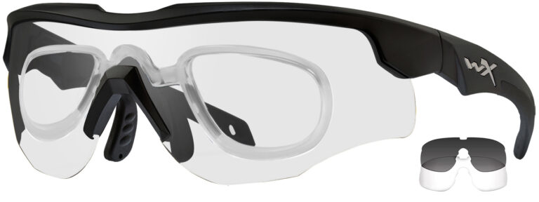 Wiley X Rogue in Matte Black Comm Frame with Smoke Gray and Clear Lenses, WX-2851RX