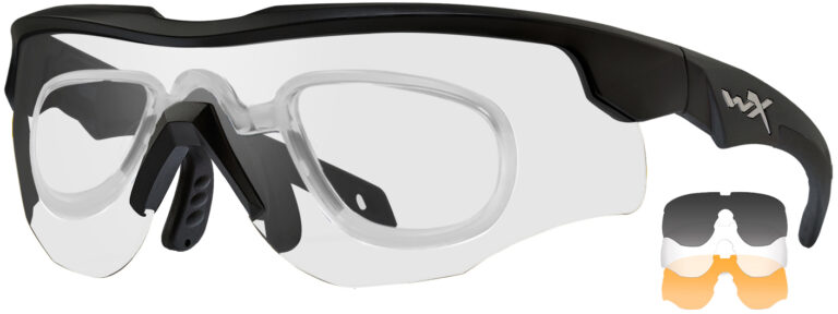 Wiley X Rogue in Matte Black Comm Frame with Smoke Gray, Clear and Light Rust Lenses, WX-2852RX