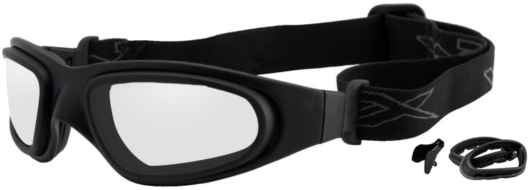Wiley X SG-1 in Matte Black Frame Asian Cut with Clear Lens and Lens Gasket, Angled to the Side Left