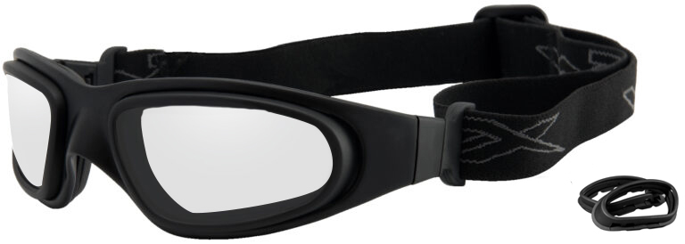 Wiley X SG-1 in Matte Black Frame with Clear Lens and Lens Gasket, Angled to the Side Left