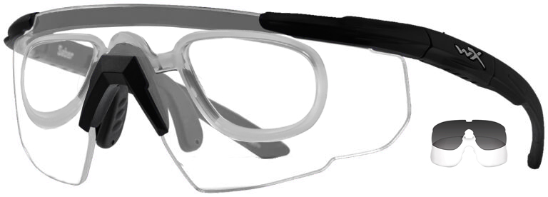 Wiley X Saber in Matte Black Frame with Smoke Gray and Clear Lenses and RX Insert, WX-307RX
