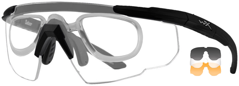Wiley X Saber in Matte Black Frame with Smoke Gray, Light, and Rust Lenses and RX Insert, WX-308RX