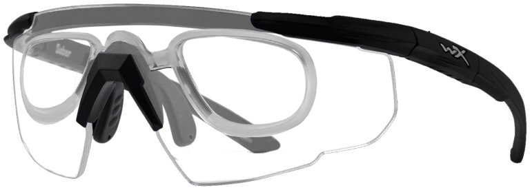 Wiley X Saber in Matte Black Frame with Clear Lenses with RX Insert, WX-303RX