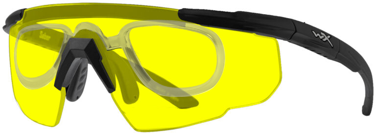 Wiley X Saber in Matte Black Frame with Pale Yellow Lenses with RX Insert, WX-300RX