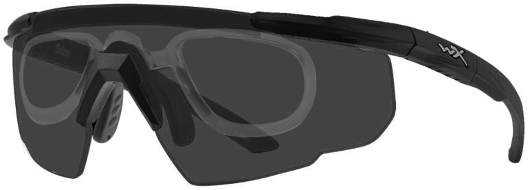 Wiley X Saber in Matte Black Frame with Smoke Gray Lenses with RX Rim Insert, WX-302RX