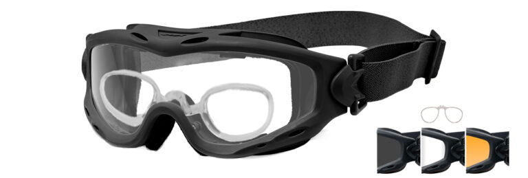Wiley X Spear in Matte Black Frame with Smoke Gray, Clear, and Light Rust Lenses with RX Insert, WX-SP293BRX