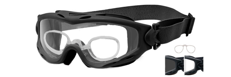 Wiley X Spear in Matte Black Frame in Smoke Gray and Clear Lenses with RX Insert, WX-SP29BRX