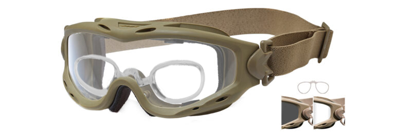 Wiley X Spear in Tan with Smoke Gray and Clear Lenses with Rx Insert, WX-SP29TRX