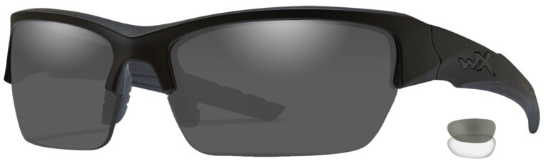 Wiley X Valor Matte Black Frame with Smoke Gray and Clear Lenses, angled to the side left