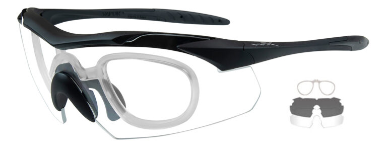 Wiley X Vapor in Matte Black Frame with Smoke Gray and Clear Lenses with RX Insert, WX-3501RX