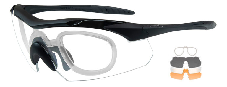 Wiley X Vapor in Matte Black Frame with Smoke Gray, Clear and Light Rust Lenses with RX Insert, WX-3502RX