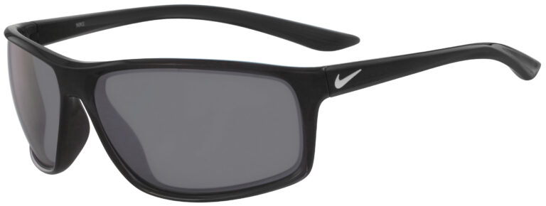 Nike Adrenaline in Anthracite Frame with Grey Silver Flash Lens, Angled to the Side Left