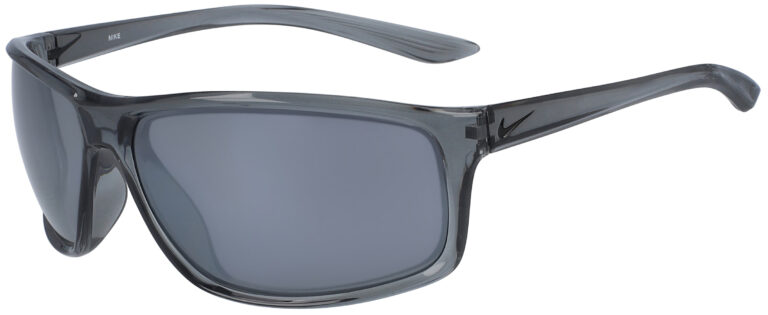 Nike Adrenaline in Cool Grey/Black Frame with Silver Flash Lens, Angled to the Side Left