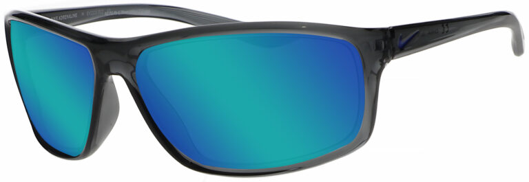 Nike Adrenaline in Dark Grey/Grey Frame with Blue Mirror Lens, Angled to the Side Left